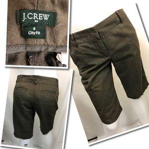 J Crew classic city Capris dark Olive color 6